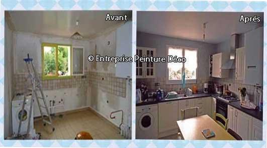Devis peinture repeindre sa cuisine en satiné plafond et mur